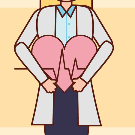 pregnancy fertilization doctor holding a big heart life line vector illustration