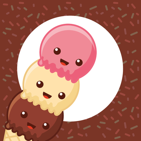 ice cream cute cone of three flavors stripes background vector illustration Illustration