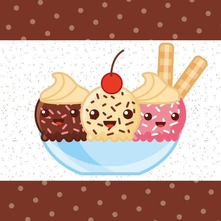 ice cream three flavors cup chocolate strawberry passion fruit sticks vector illustration Illustration