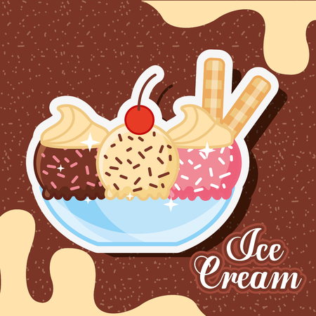ice cream bowl glass with ice cream different flavors and sparks melted chocolate vector illustration