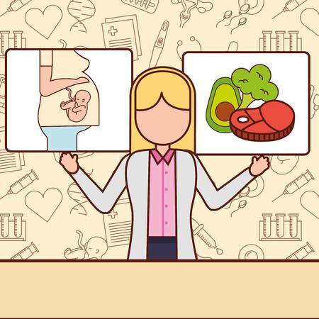pregnancy fertilization doctor showing good feeding best born vector illustration