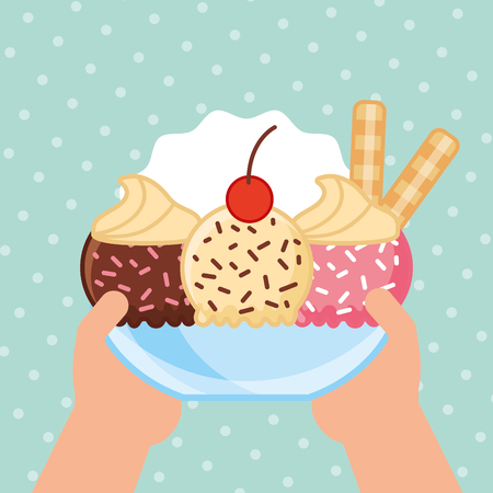 ices cream cup of different flavors with cream sticks vector illustration 向量圖像