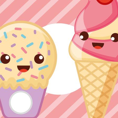 Glaces crème glacée mignon cornets de crème glacée de fraise illustration vectorielle Banque d'images - 103030219