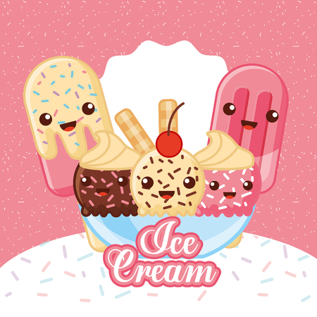ices cream table with cup cone many flavors sparks cream sticks vector illustration