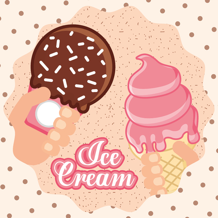 ices cream hand holding cone melted strabrry spark chocolate vector illustration Imagens - 103030224