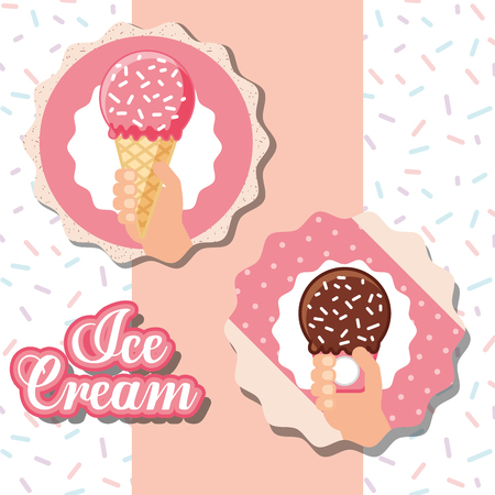ice cream labels pink striped hands holding cones chocolate strawberry sparks vector illustration