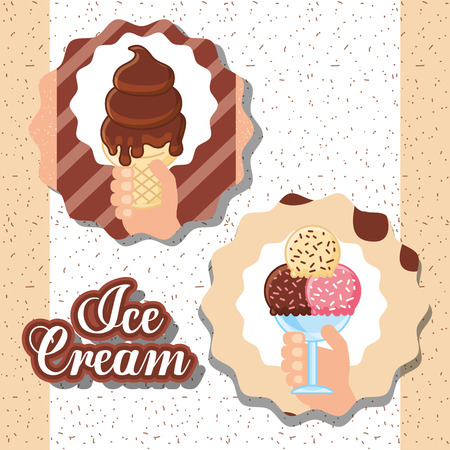ice cream labels hands holding cup many different flavors chocolate melted vector illustration Foto de archivo - 102995762