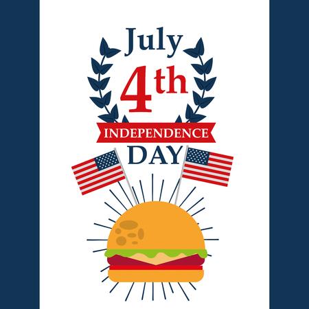 food american independence day july celebration hamburger usa flags vector illustration