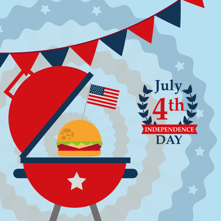 food american independence day color pennants grill with hamburger usa flag vector illustration 向量圖像