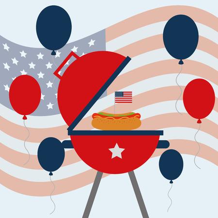 food american independence day usa flag background grill with hotdog balloons vector illustration Ilustração