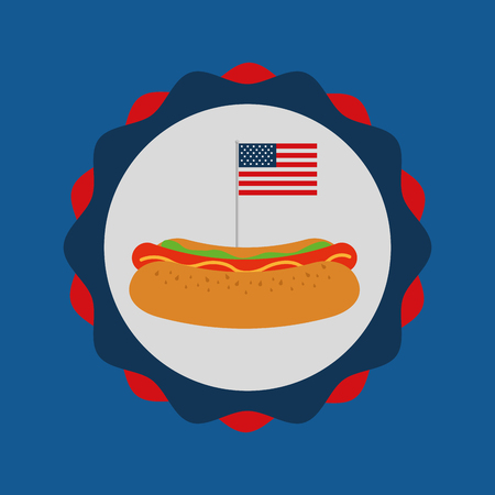 food american independence day color label traditional hotdog vector illustration Ilustração