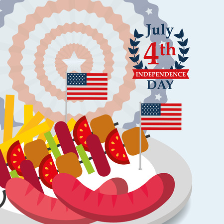food american independence day dish of kebabs sausages usa flags vector illustration