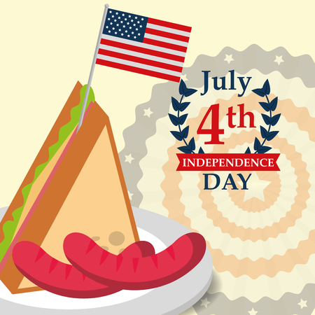 food american independence day sandwich usa flag sausages pennants background vector illustration