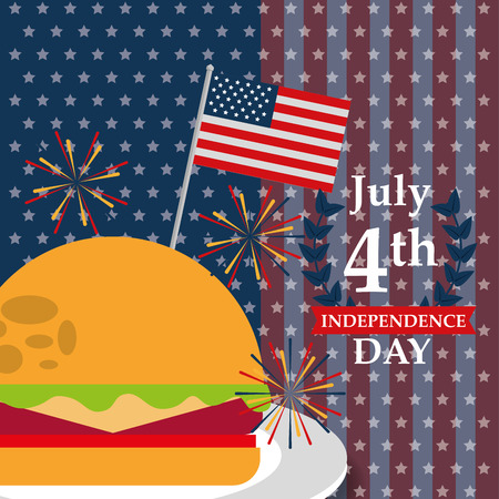 food american independence day usa flag background hamburger july celebrate vector illustration