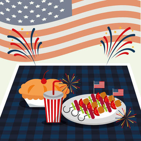 food american independence day square table soda cherry pie dish of kebabs vector illustration