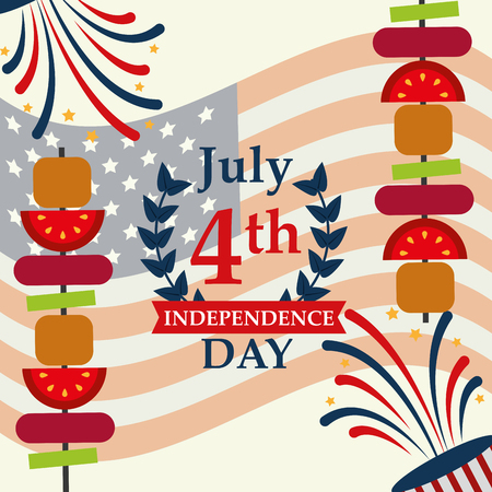 food american independence day two kebabs fireworks usa flag vector illustration