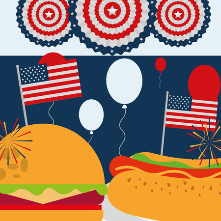 food american independence day balloons pennants hamburger hotdog vector illustration