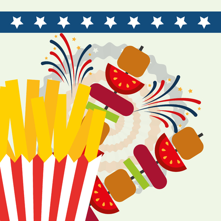 food american independence day french fries kebabs vector illustration
