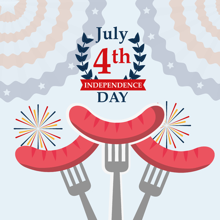 food american independence day pennants background three sausages vector illustration