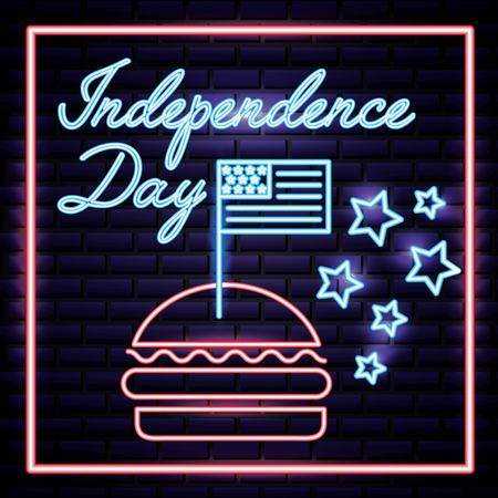 american independence day hamburguer with usa flag celebration vector illustration