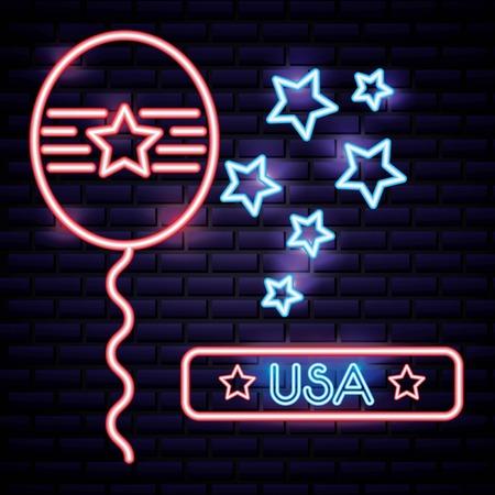 american independence day balloon usa celebration date vector illustration Illustration