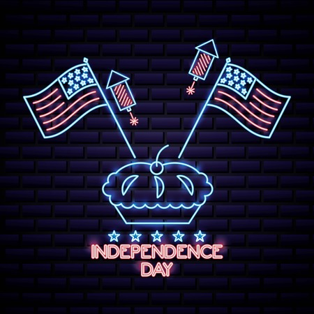 american independence day cake with two usa flags rockets neon stars vector illustration