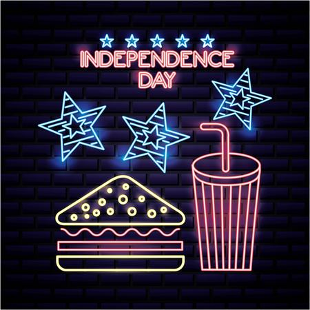 american independence day milk shake big blue stars neon sandwich vector illustration Ilustração
