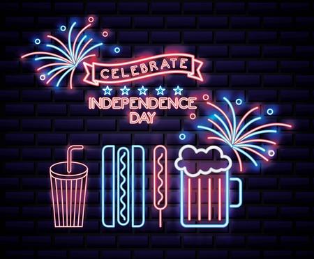 american independence day milk shake beer hotdog ribbon celebrate date love usa fireworks vector illustration