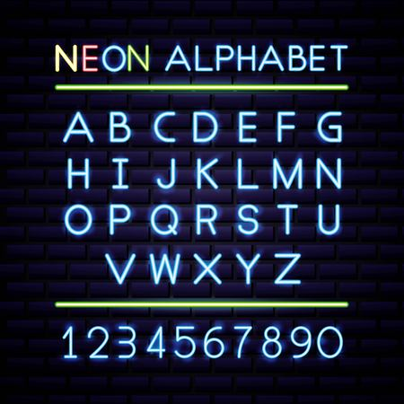 american independence day neon alphabet many numbers vector illustration