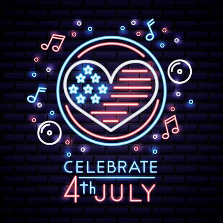 american independence day bubbles heart usa flag music love vector illustration Çizim