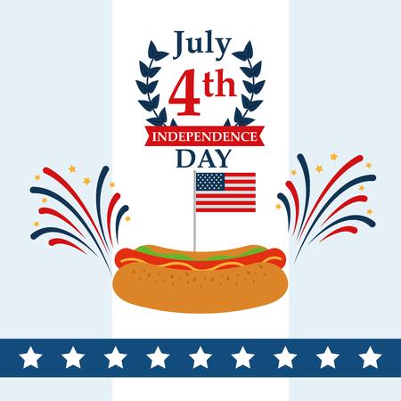 food american independence day happy july date hotdog fireworks vector illustration Illustration