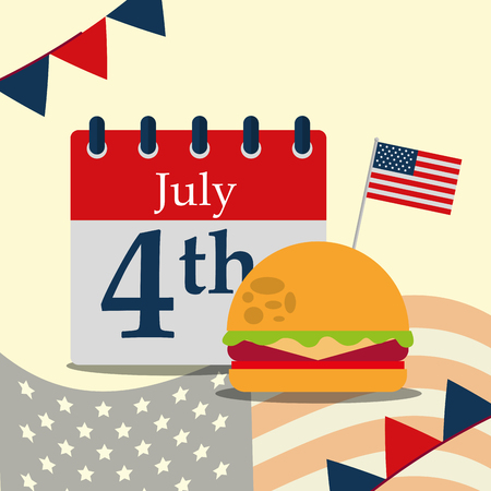 food american independence day calendar july happy date hamburger pennants vector illustration Ilustrace