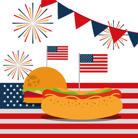 food american independence day pennants usa flag fireworks hamburger hotdog vector illustration