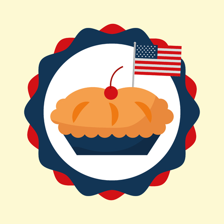 food american independence day label cherry pie traditional vector illustration 向量圖像