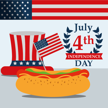 food american independence day traditional usa hat hotdog vector illustration