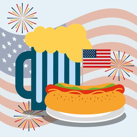 food american independence day fireworks usa flag background beer with hotdog vector illustration 向量圖像
