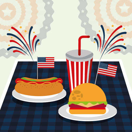 food american independence day fireworks celebrate soda with hotdog and hamburger vector illustration