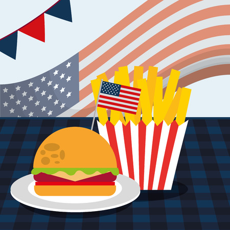 food american independence day french fries in the table with hamburger vector illustration Ilustração