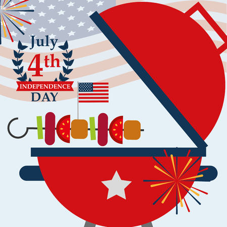 food american independence day grill kebab fireworks vector illustration