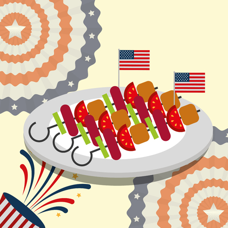 food american independence day many kebabs vector illustration