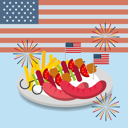 food american independence day usa flag background dish with sausages kebabs french fries vector illustration