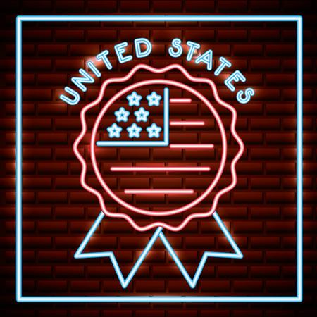american independence day rosette with usa flag neon vector illustration