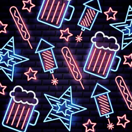 american independence day neon rockets beers stars meat palettes vector illustration