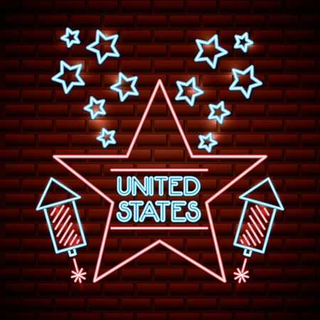 american independence day neon star united states rockets vector illustration