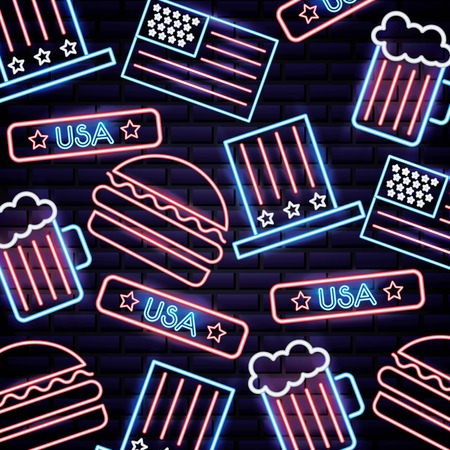 american independence day neon hamburguer beers sign usa vector illustration