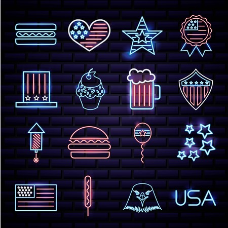 american independence day neon stickers celebrate date food symbols usa vector illustration Illustration