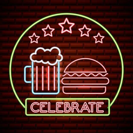 american independence day sticker beer hamburguer neon celebrate vector illustration
