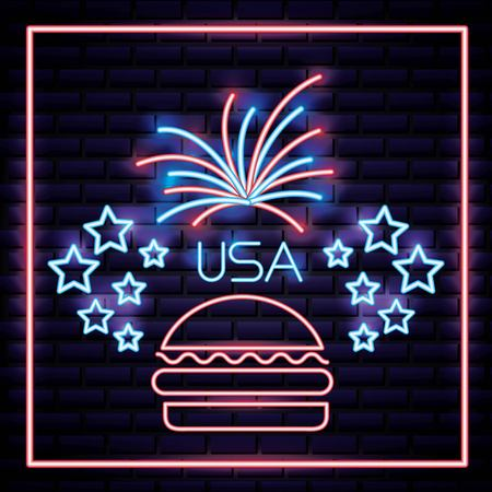 american independence day stars neon fireworks hamburguer usa vector illustration