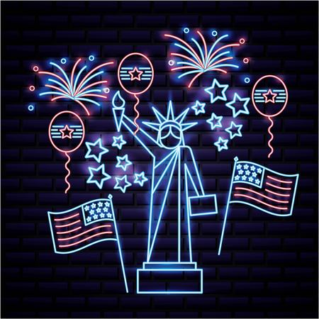 american independence day statue of liberty neon fireworks balloons flag united states vector illustration