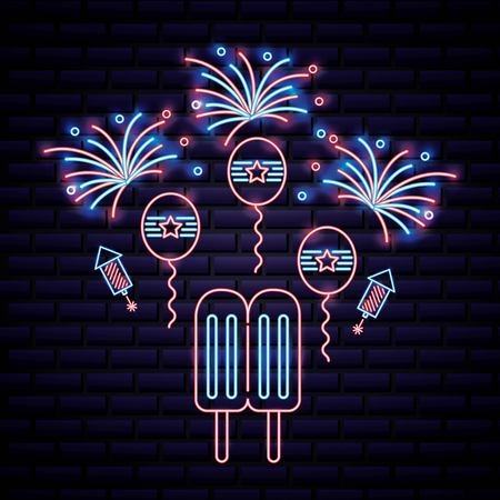 american independence day fireworks celebrate date balloons flag usa ice cream stick vector illustration